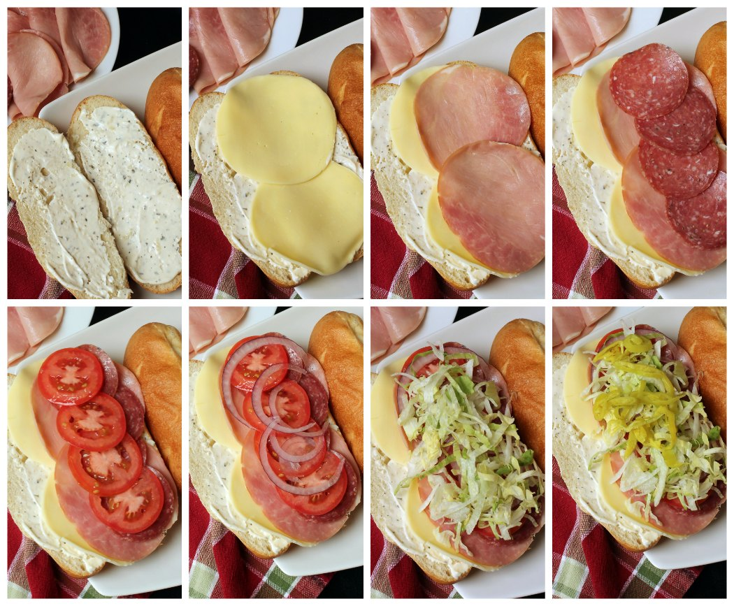 step by step photos of making Italian Subs