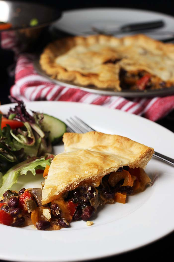 black bean pot pie on plate