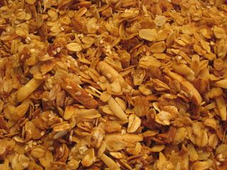 baked granola on tray