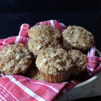 Maple Banana Oat Muffins with Streusel Topping