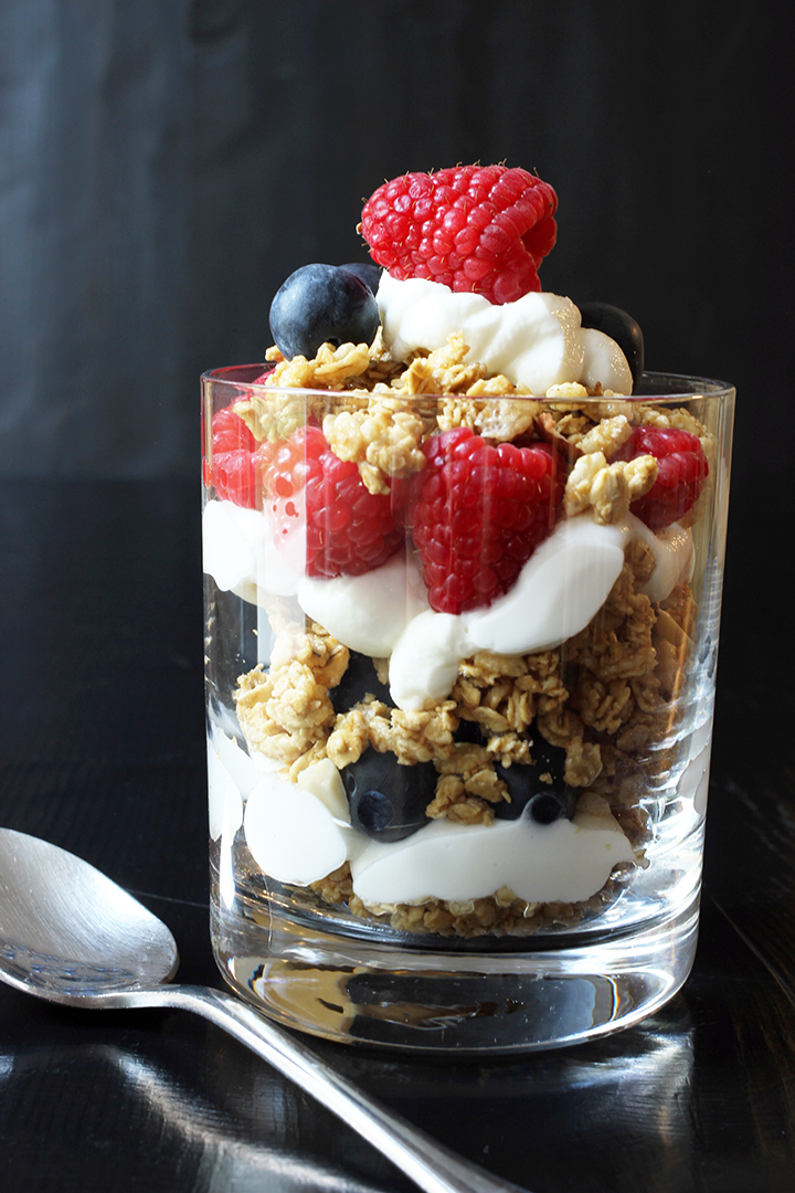 parfait in glass with a spoon
