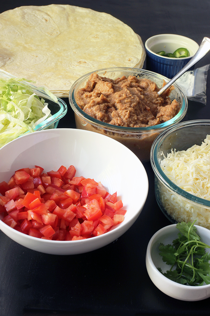 prepped ingredients for burrito bar