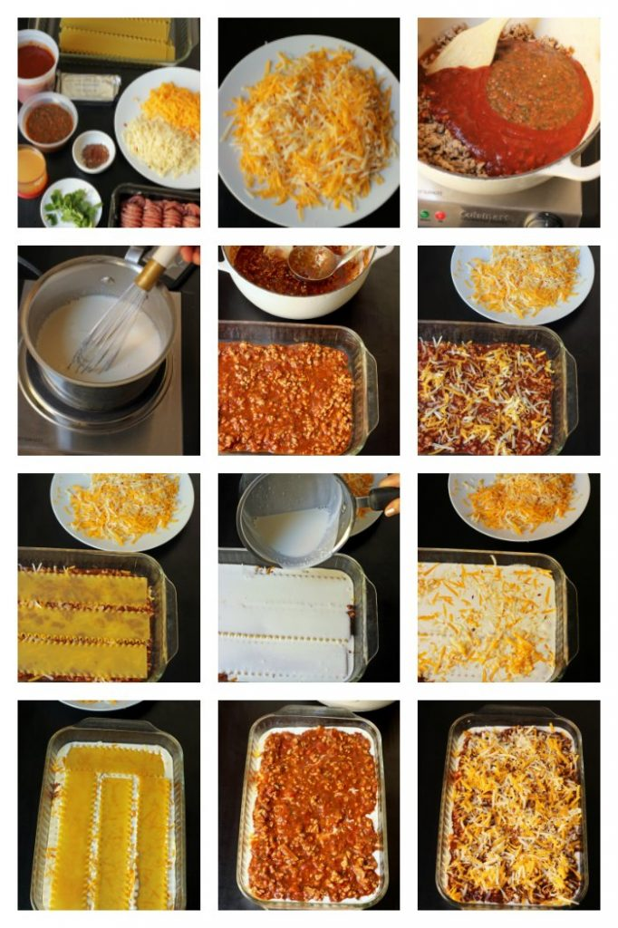 step-by-step photos of making lasagna