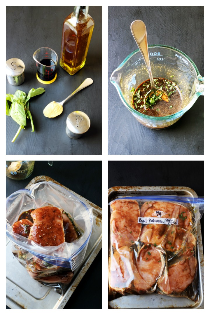 step by step photo collage for making balsamic pork chops