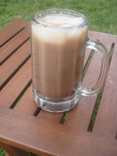 mug of iced mocha on table