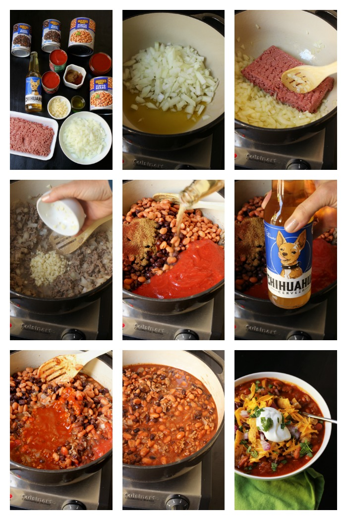 step by step photos of how to prep the chili
