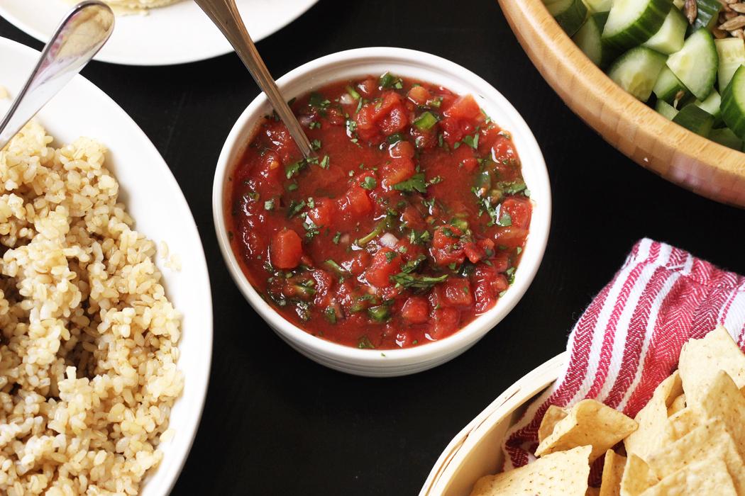 homemade salsa in a bowl on buffet