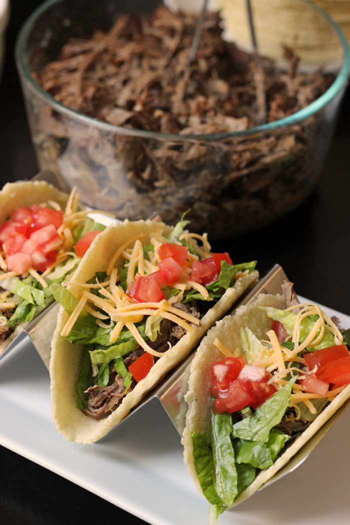 plate of shredded beef tacos