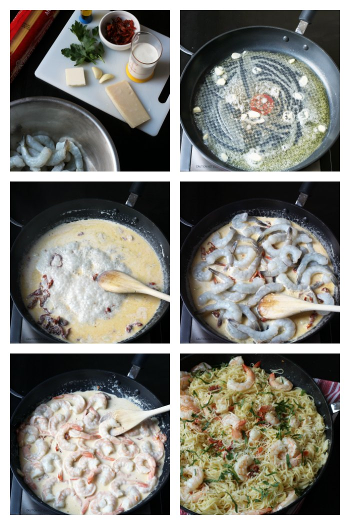 step by step photos of shrimp pasta in garlic cream sauce