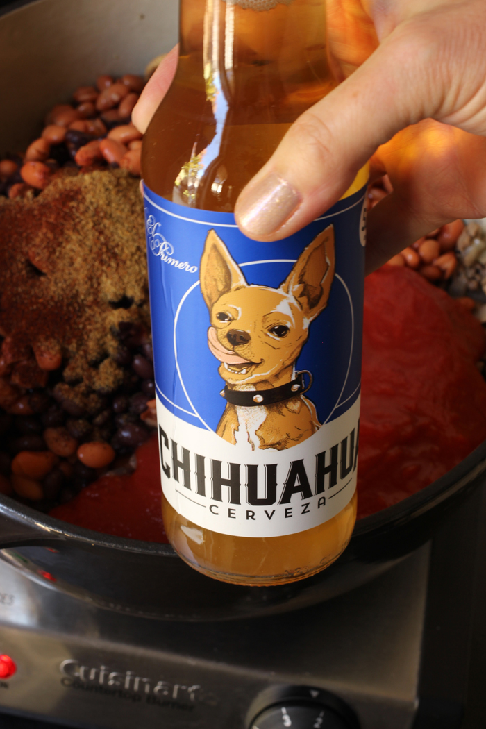 bottle of chihuahua beer for chili