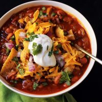 close up of chili with topping