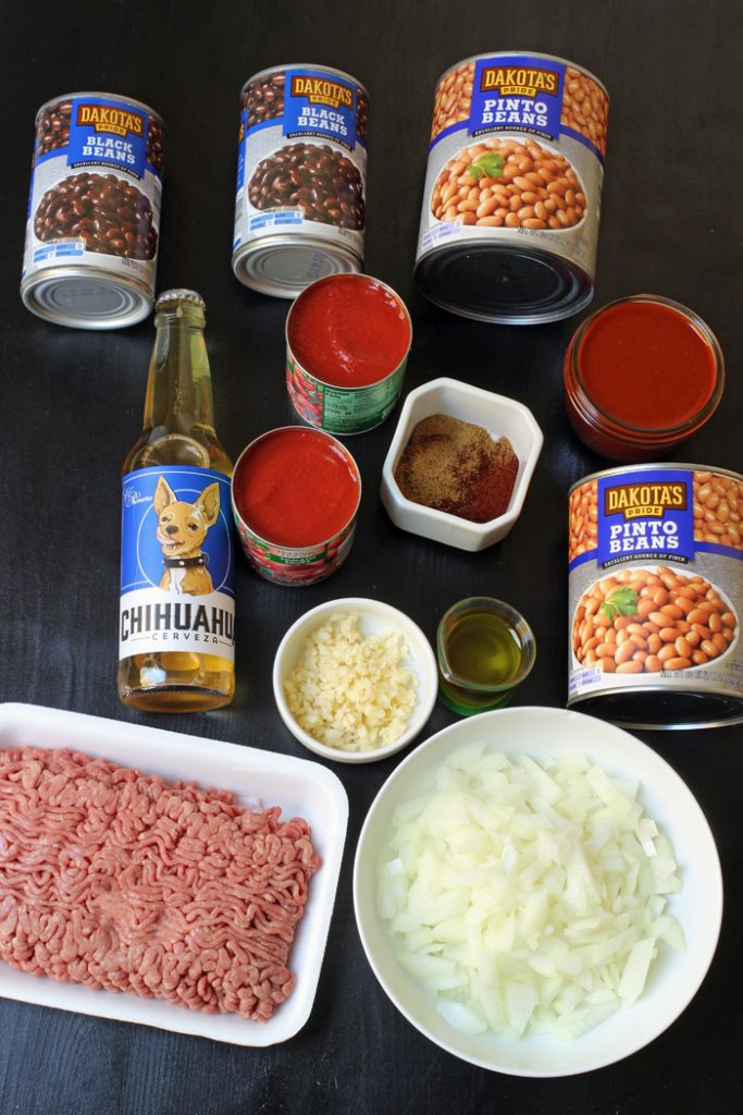 ingredients for chili laid out on the table