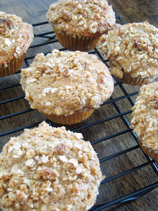 cooking rack with oat topped muffins
