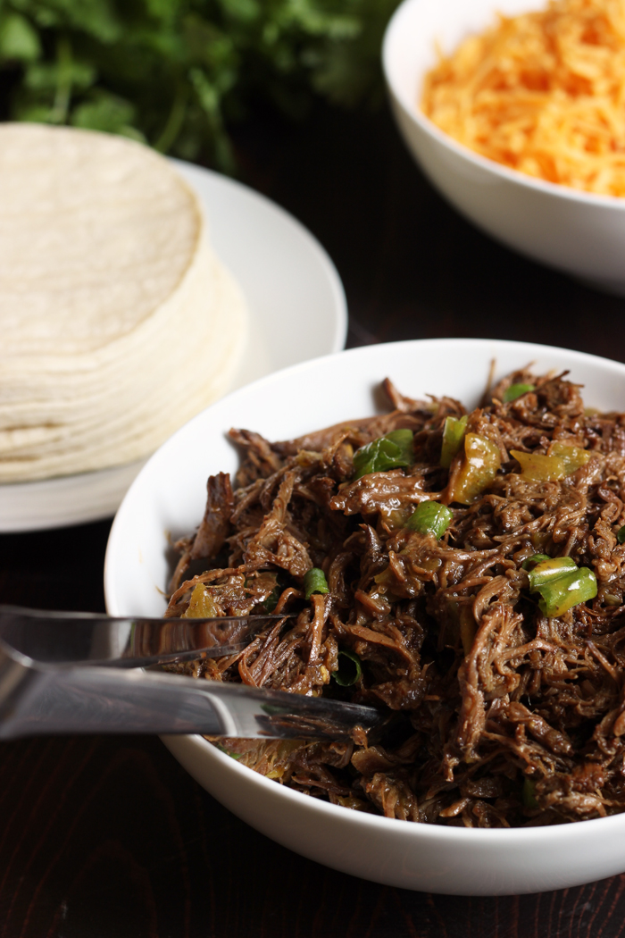 bowl of shredded beef filling