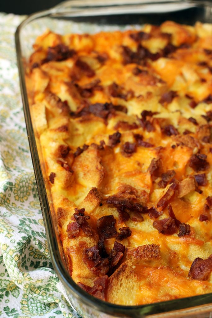 Bacon and Cheese Egg Bake in casserole dish