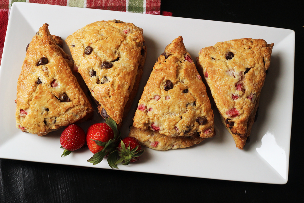 Chocolate Strawberry Scones on a plate