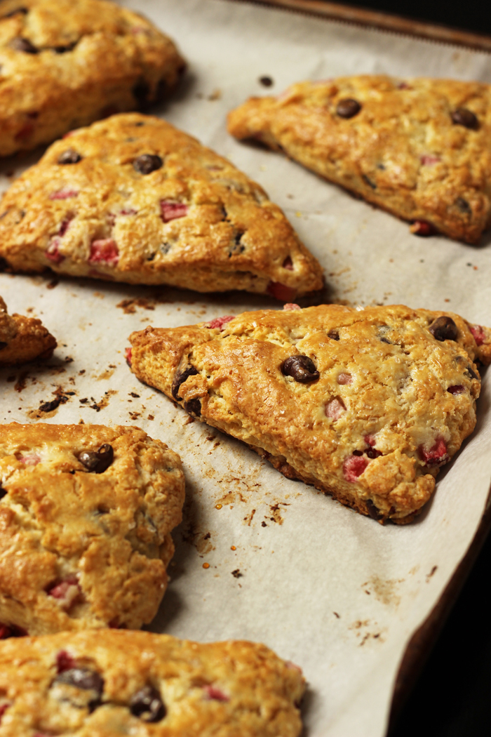 Chocolate Strawberry Scones baked on parchment paper