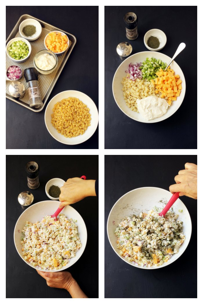 step by step photos for making macaroni salad