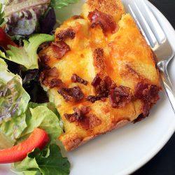 plate of egg bake and salad