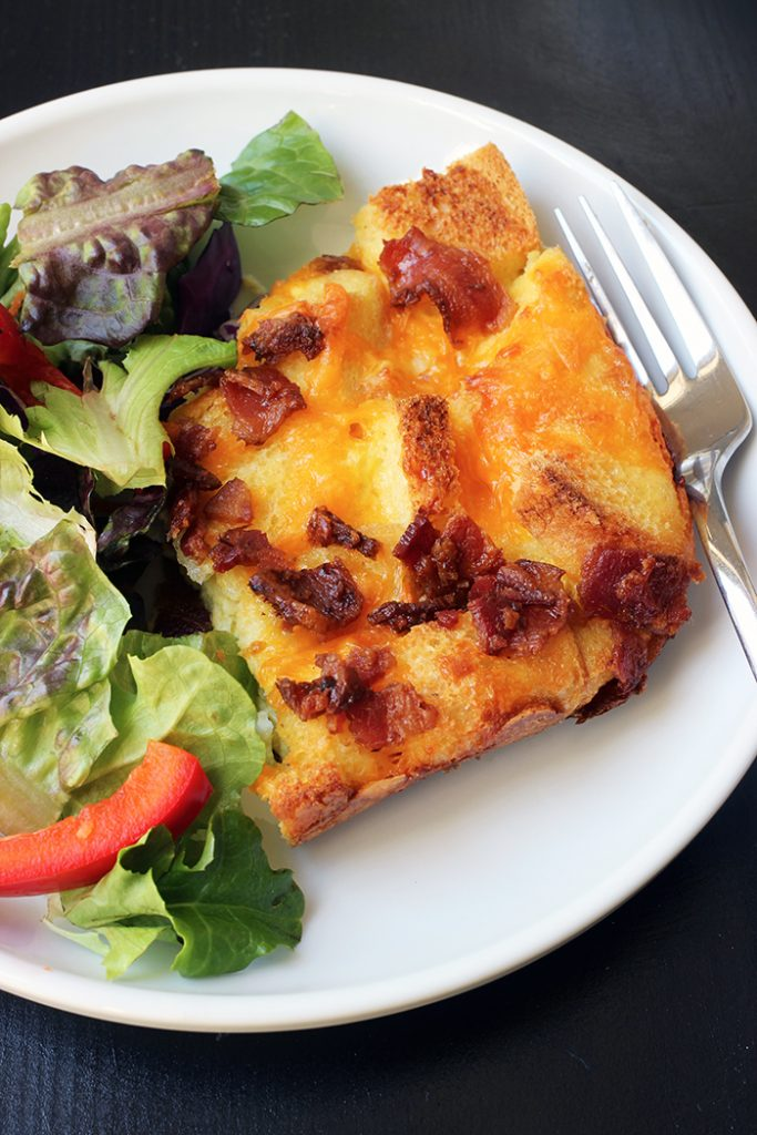 plate of egg bake and salad