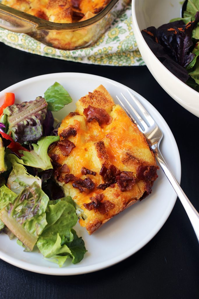 salad and egg bake on plate