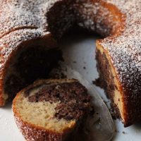 slice of Chocolate Banana Marble Cake