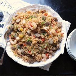A bowl of Jambalaya on table