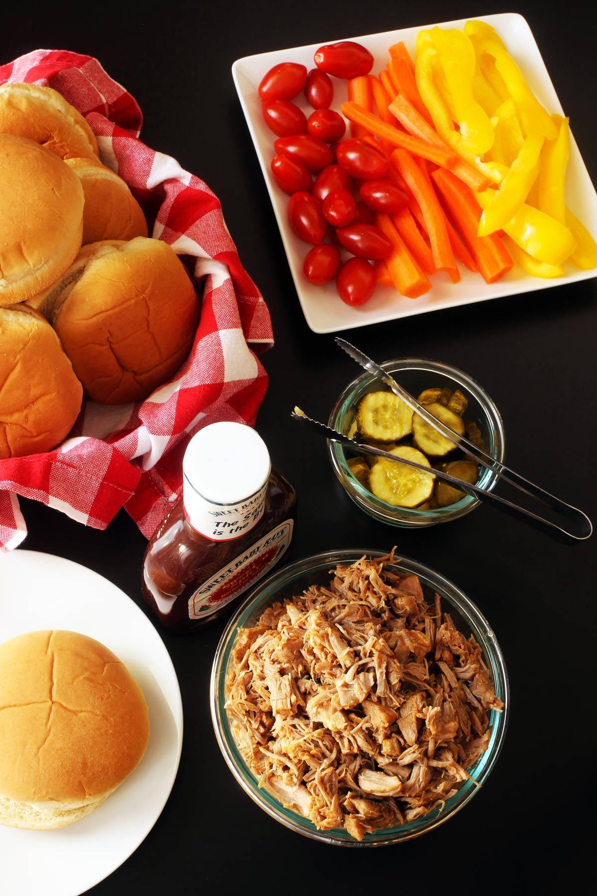BBQ pork dinner table set