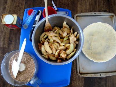 A bowl of Apples for pie with pie crust