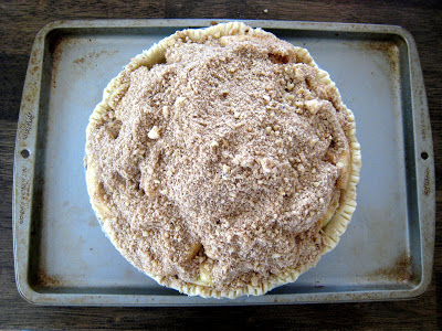 an unbaked pie on a tray