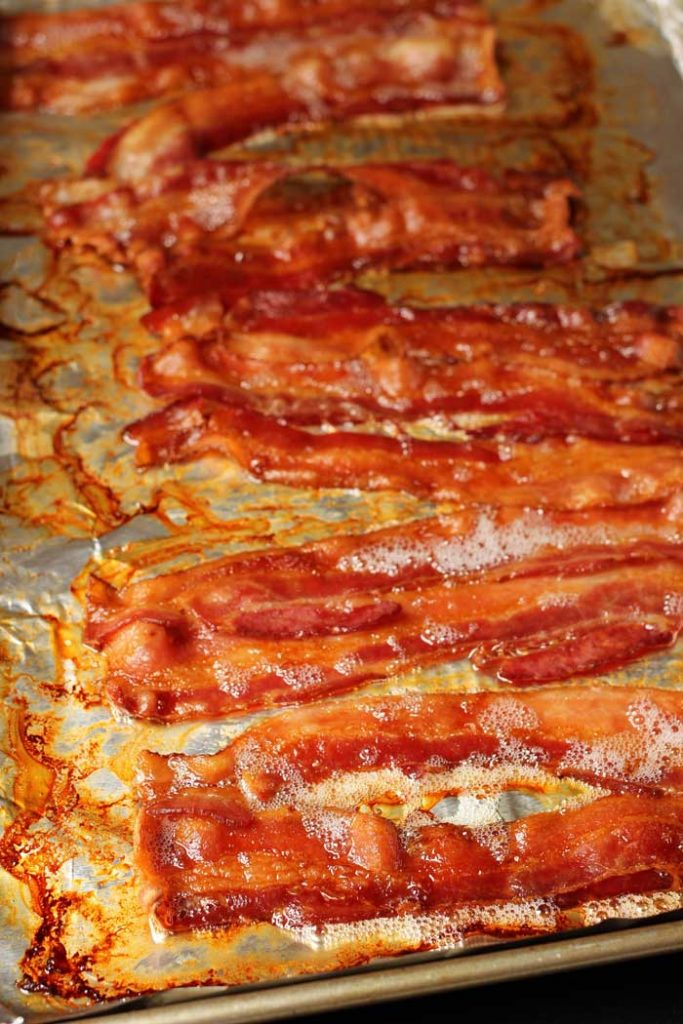 baked bacon on foil tray