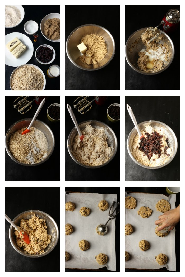 step by step photos of making oatmeal raisin cookies
