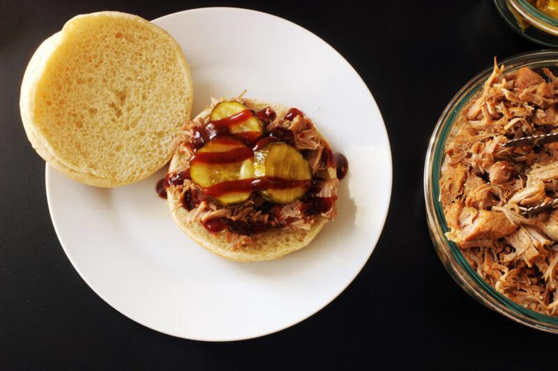 open BBQ Pork sandwich