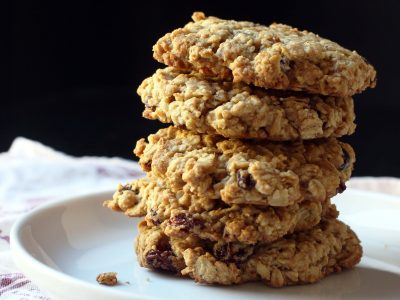 stack of four cookies on plate