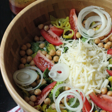 A wooden bowl of Italian Salad