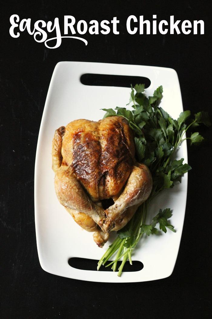 Platter with a roast chicken
