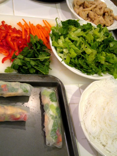 Summer Rolls ingredients on counter