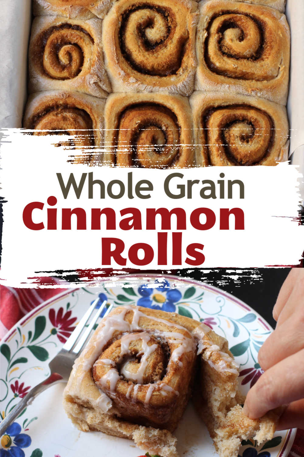 close up of whole grain cinnamon rolls