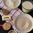 baking ingredients measured out in various dishes