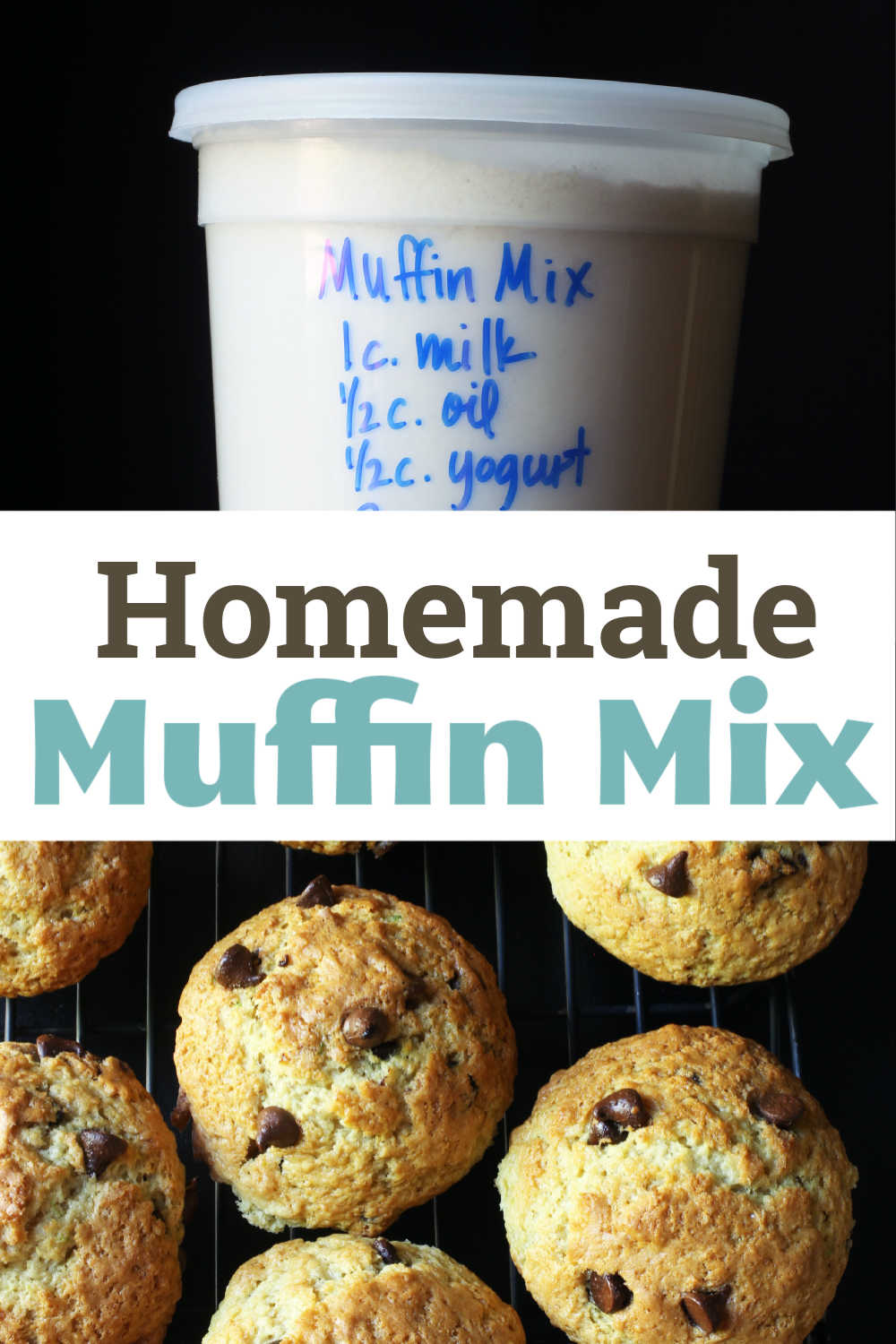container of Muffin Mix next to muffins on rack