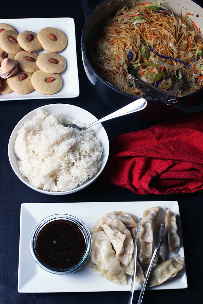 almond cookies chow mein rice and potstickers