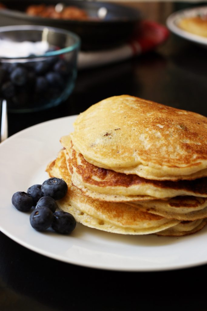 Plate of Whole wheat blueberry pancakes