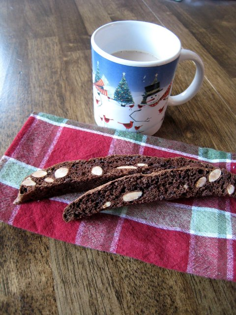 Chocolate Almond Biscotti with Mug