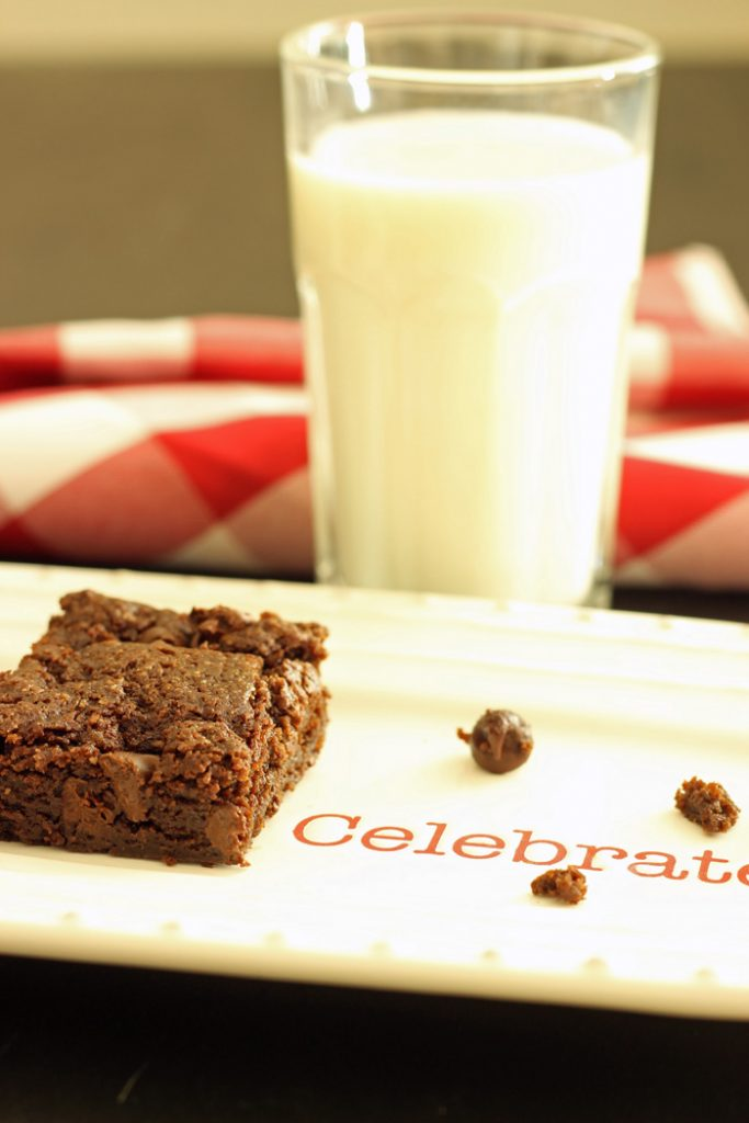 Cocoa Brownie on a plate with a glass of milk
