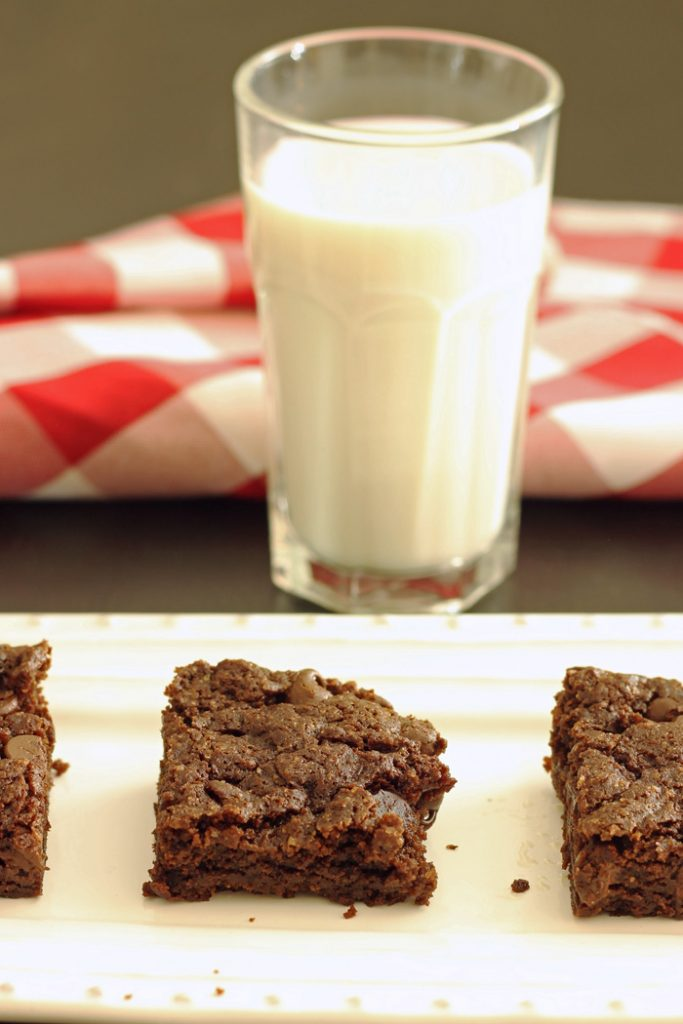 cocoa brownies and a glass of milk