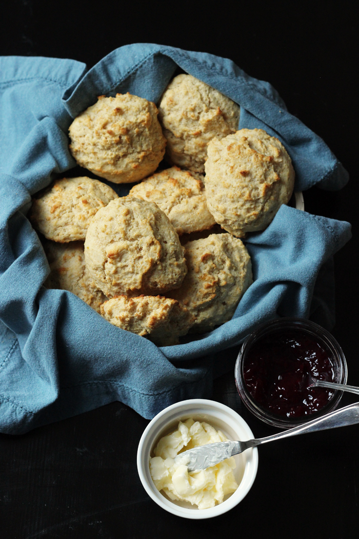 drop biscuits in basket with butter and jam
