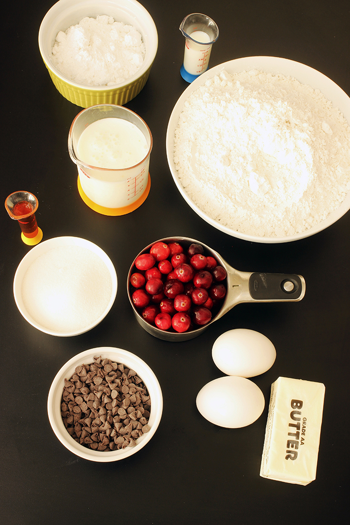 ingredients for chocolate cranberry scones