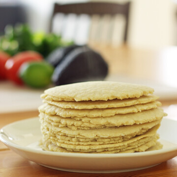 stack of Homemade Corn Tortillas on a plate