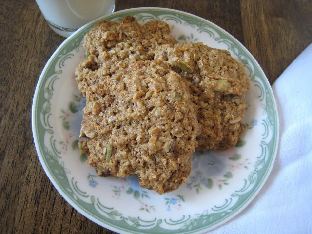 breakfast cookies stacked on china plate