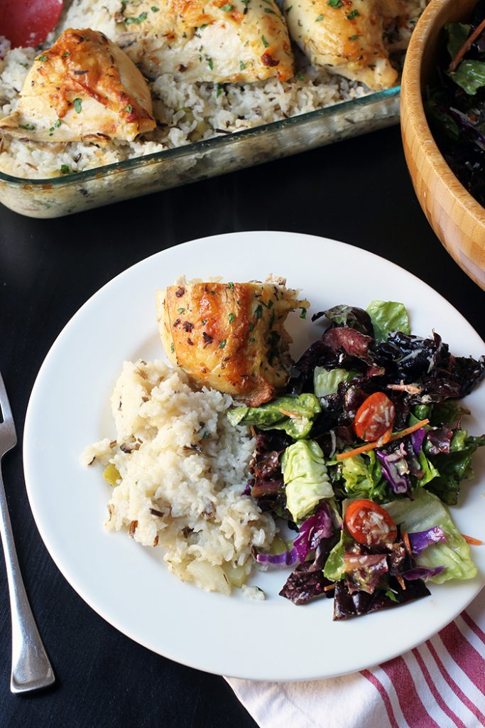 baked chicken rice and salad